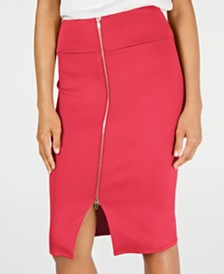 Thalia Sodi Zipper Pencil Scuba Skirt, Created for Macy's
