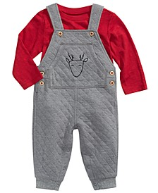 Baby Boys 2-Pc. T-Shirt & Quilted Reindeer Overalls Set, Created for Macy's