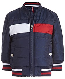 Baby Boys Eli Dark Blue Quilted Colorblocked Bomber Jacket