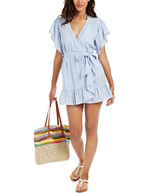 Juniors' Ruffled  Stripe Wrap Cover-Up