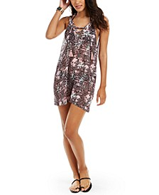 Juniors' Python Printed Lace-Up Cover-Up Dress, Created For Macy's