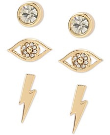 Gold-Tone 3-Pc. Set Crystal Evil Eye Stud Earrings