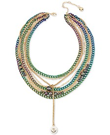 "Two-Tone Crystal & Imitation Pearl Multi-Row Statement Necklace, 16"" + 3"" extender"