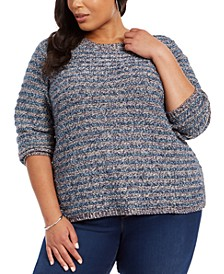 Plus Size Metallic-Threaded Chenille Sweater, Created For Macy's