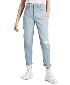 Ripped Knee High-Waist Ankle Jeans