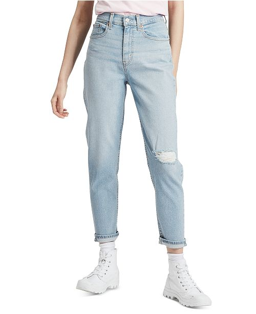 Levi's Ripped Knee High-Waist Ankle Jeans