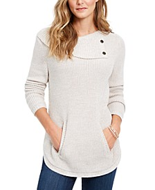 Envelope Neck Kangaroo Pocket Knit Sweater, Created for Macy's