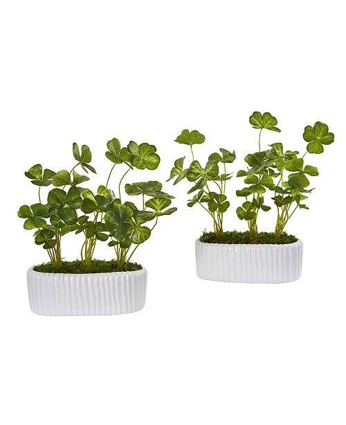 "Nearly Natural 10"" Clover Artificial Plant in White Planter, Set of 2"