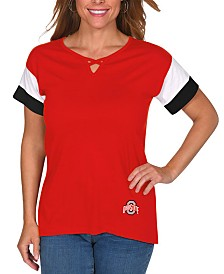 UG Apparel Women's Ohio State Buckeyes Crisscross Colorblocked T-Shirt