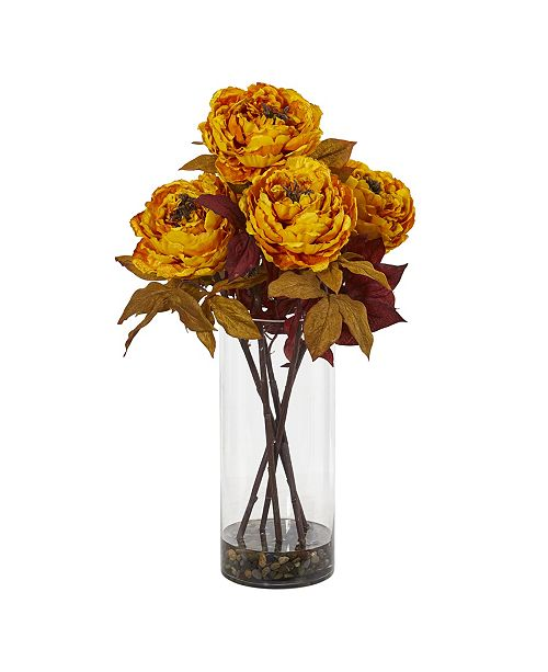 Nearly Natural Peony Artificial Arrangement in Glass Vase