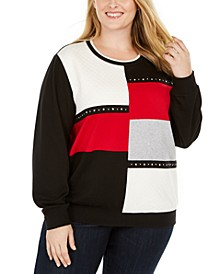 Plus Size Well Red Colorblocked Top