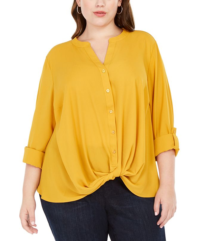 INC International Concepts INC Plus Size Twist-Front Shirt, Created for Macy's