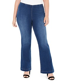 INC Plus Size Pull-On Flared Jeans, Created For Macy's