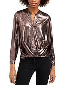 Metallic Twist-Hem Top