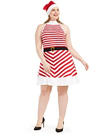 Trendy Plus Size Striped Fit & Flare Dress & Santa Hat
