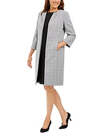 Plaid Tweed Topper-Jacket Dress Suit