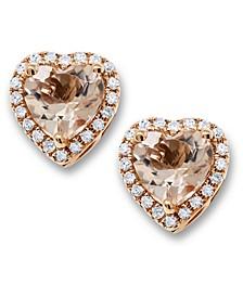 Morganite(1-1/5 ct. t.w.) & Diamond(1/6 ct. t.w.) Heart Stud Earrings in 14k Rose Gold