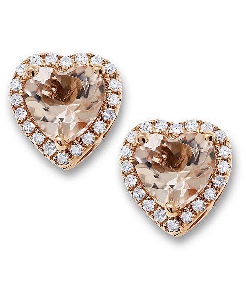 Macy's Morganite(1-1/5 ct. t.w.) & Diamond(1/6 ct. t.w.) Heart Stud Earrings in 14k Rose Gold