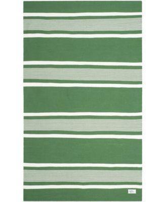 Hanover Stripe LRL2461B Green 4' X 6' Area Rug