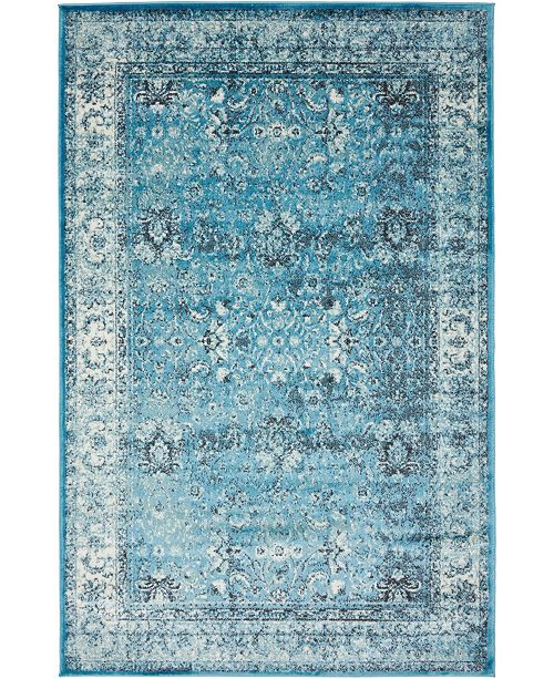 Bridgeport Home Linport Lin1 Turquoise/Ivory Area Rug Collection