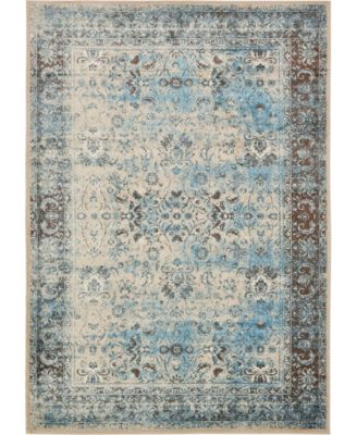 Linport Lin1 Ivory/Turquoise 4' x 6' Area Rug