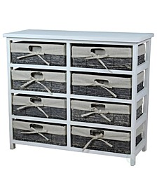 Wooden Storage Chest with Maize Basket Style Drawers