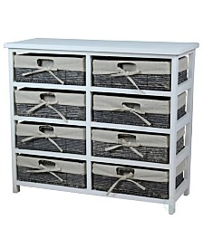 Vintiquewise Wooden Storage Chest with Maize Basket Style Drawers