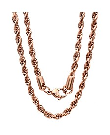 "Steeltime Men's 18k Rose gold Plated Stainless Steel Rope Chain 24"" Necklace"
