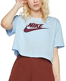 Sportswear Cotton Logo Cropped T-Shirt