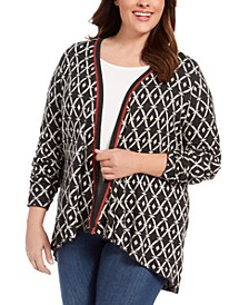Belldidni Plus Size Geometric Jacquard High-Low Cardigan Sweater