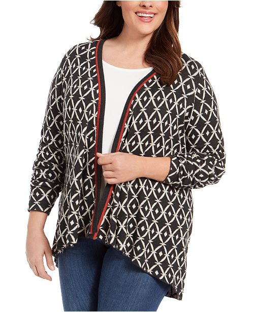 Belldini Belldidni Plus Size Geometric Jacquard High-Low Cardigan Sweater