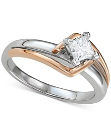 Diamond Princess Two-Tone Solitaire Engagement Ring (1/2 ct. t.w.) in 14k Gold & White Gold