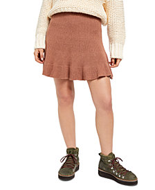 Free People Solid Gold Ribbed Skirt