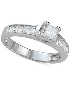 Diamond Princess Channel-Set Engagement Ring (1 ct. t.w.) in 14k White Gold