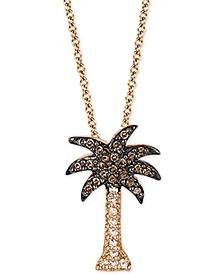 "EFFY® Diamond Palm Tree 18"" Pendant Necklace (1/10 ct. t.w.) in 14k Rose Gold"