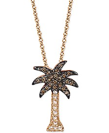 "EFFY® Diamond Palm Tree 18"" Pendant Necklace (1/10 ct. t.w.) in 14k Rose Gold"