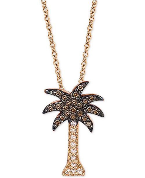 """EFFY Collection EFFY® Diamond Palm Tree 18"""" Pendant Necklace (1/10 ct. t.w.) in 14k Rose Gold"""
