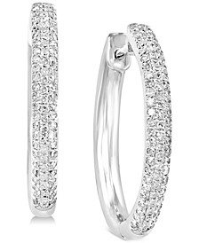 EFFY® Diamond Huggie Hoop Earrings (3/8 ct. t.w.) in 14k White Gold