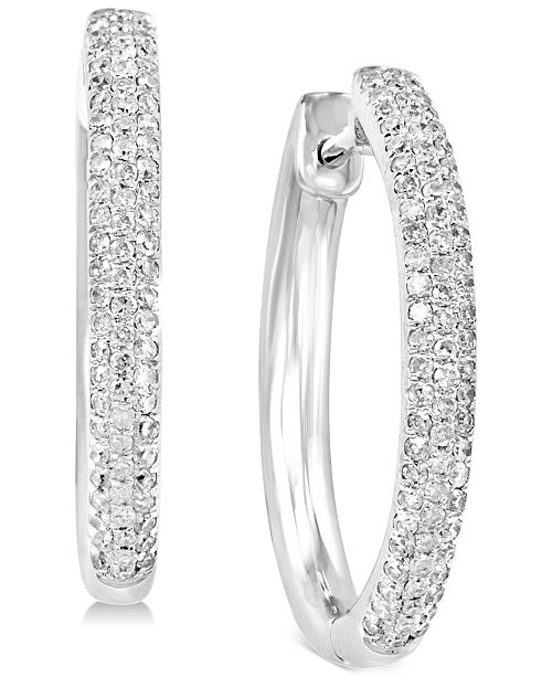 EFFY Collection EFFY® Diamond Huggie Hoop Earrings (3/8 ct. t.w.) in 14k White Gold