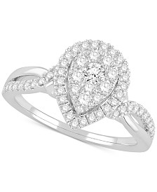 Diamond Cluster Halo Statement Ring (5/8 ct. t.w.) in 14k White Gold