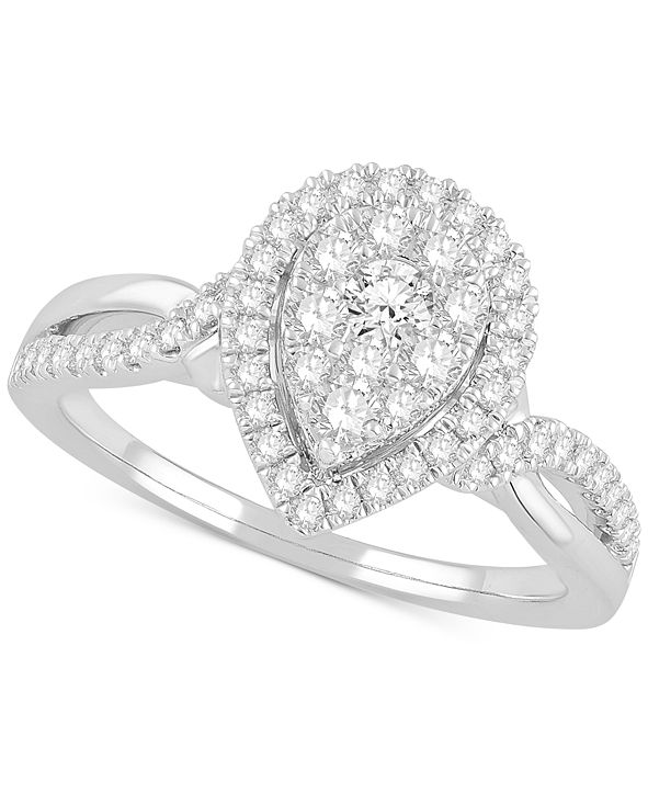 Macy's Diamond Cluster Halo Statement Ring (5/8 ct. t.w.) in 14k White Gold