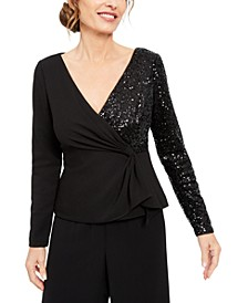 Sequinned Crepe Top