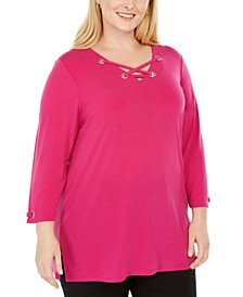 Plus Size Grommet-Trim Lace-Up Top, Created For Macy's