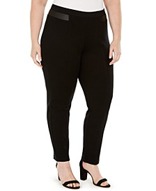 Plus Size Faux-Leather-Trim Pants, Created for Macy's