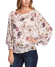 Floral-Print Batwing Sleeve Blouse