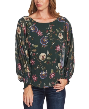 Vince Camuto Tops FLORAL-PRINT BATWING SLEEVE BLOUSE