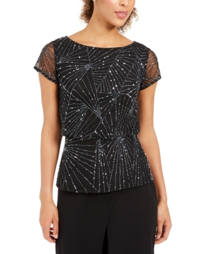 1920s Blouses & Shirts History Adrianna Papell Beaded Mesh Top $103.99 AT vintagedancer.com