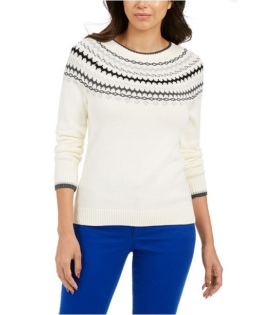 Charter Club Petite Printed Sweater, Created For Macy's