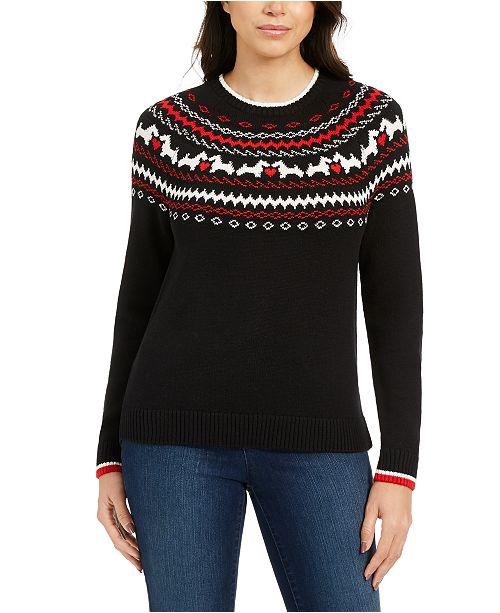 Charter Club Petite Fair-Isle Crewneck Sweater, Created For Macy's