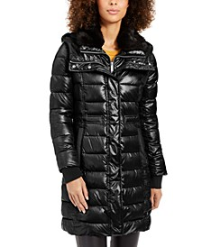 Hooded Faux-Fur-Trim Collar Puffer Coat